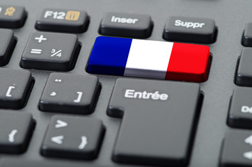 French keyboard with French flag overlaid