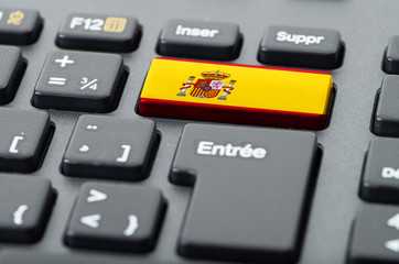 French keyboard with Spanish flag overlaid
