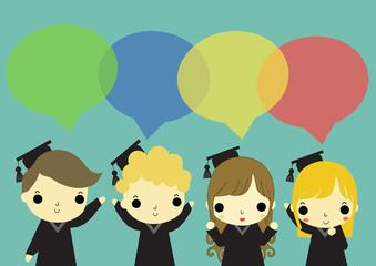 four of graduate talking