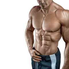 Handsome muscular bodybuilder isolated on white background