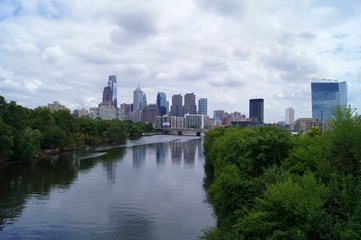 Philadelphia cityscape over the Schuylkill river.