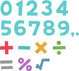 手書きの数字と計算記号