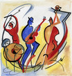 canvas print picture - Jazz trio playing music
