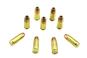 group of 9mm. bullets isolated on a white background.