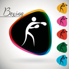 Sports icon/symbol - Boxing. 1 Multicolor & 5 monotone options.