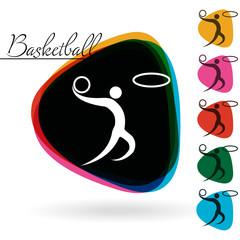 Sports icon - Basketball. 1 Multicolor & 5 monotone options.