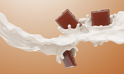 The piece of chocolate falling in a milk stream and splash