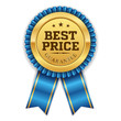 Gold best price badge with blue ribbon on white background - 78234698