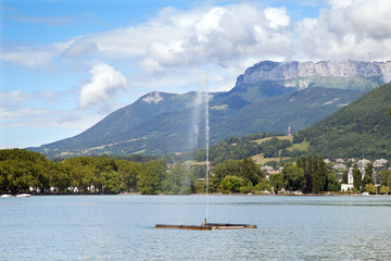 water jet on Lake Annecy
