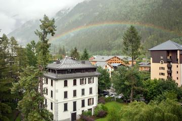 rainbow in the mountain village, Chamonix
