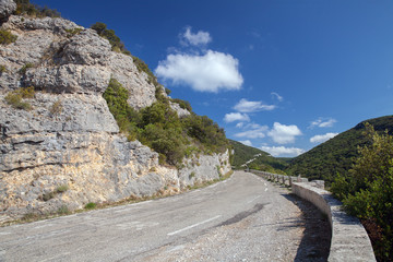 The turn of mountain road on south of France, Vaucluse