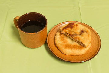 black coffee with chinese  pancakes