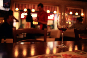glass with red wine, tasting, restaurant