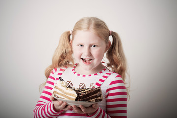 funny Child girl with cake