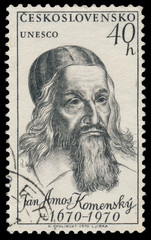 Stamp printed in Czechoslovakia shows portrait Jan Amos Komenski