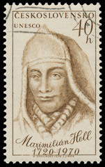 Stamp printed in Czechoslovakia shows portrait Maximilian Hell
