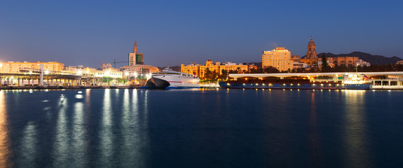 View of Malaga  from Port in  twilight