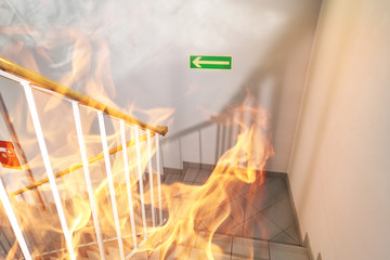 Stairs on fire in the building