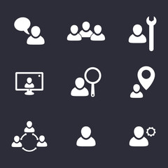 business flat icons with people vector illustration, eps10
