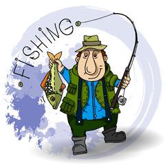 Fisherman Cartoon character with fishing rod and fish