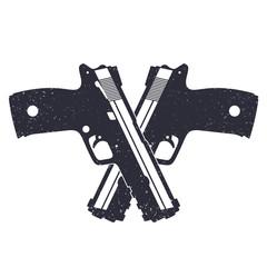 crossed modern pistols with grunge texture pistols, eps10