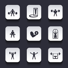 Exercises, trendy rounded square icons with shadow, eps10