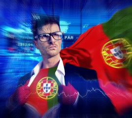Businessman Superhero Country Portugal Flag Culture Power
