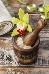 Sea salt in wooden mortar