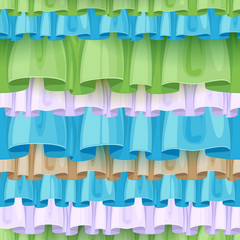 Color ruffles seamless pattern. Frills background.