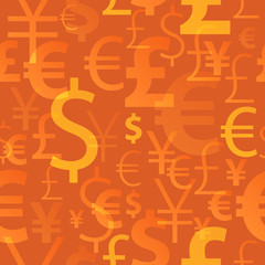 Currency symbols seamless pattern - orange color.