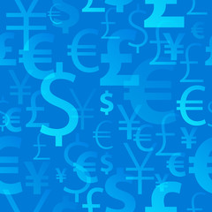 Currency symbols seamless pattern - blue color.
