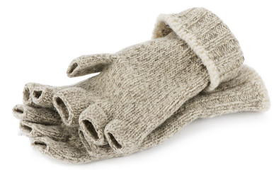 Wool fingerless gloves isolated on white background