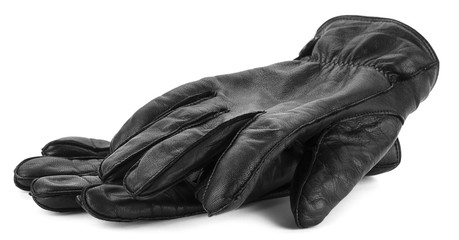 Pair of men's black leather gloves isolated on white