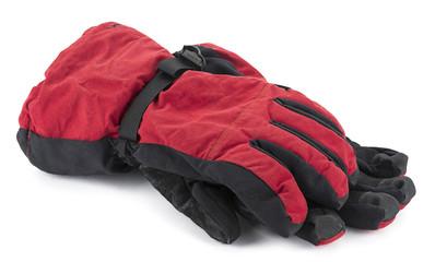 Pair of ski gloves isolated on white background