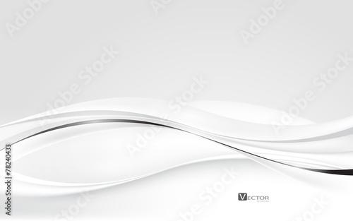 Fototapeta Abstract white waves. Vector Illustration