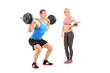 Man lifting weight with a female coach