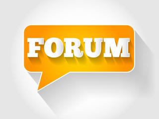 FORUM text message bubble, business concept