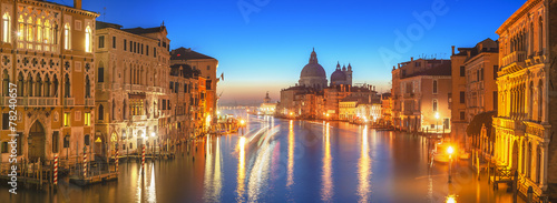 Leinwanddruck Bild The beautiful night view of the famous Grand Canal in Venice, It
