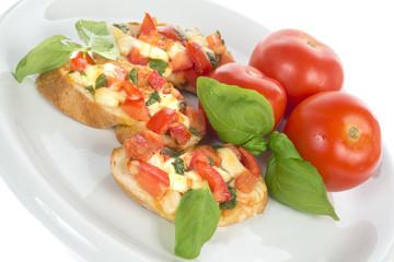 italian bruschetta with tomato and basil