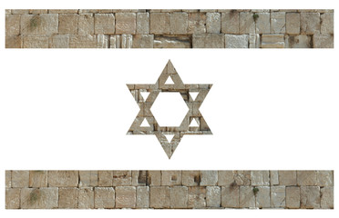 Israeli flag with stones of the Wailing wall