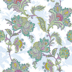 Seamless pattern with ornament, vector floral illustration