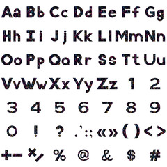Alphabet, numbers and signs, serpentines