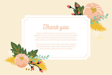 Thank you card with floral design after wedding. Vector design