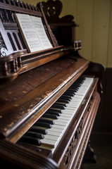 An old piano in a church