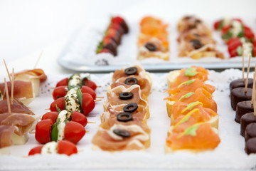 Variety of Appetizers Arranged on Platters