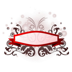 Red banner with floral design on white background