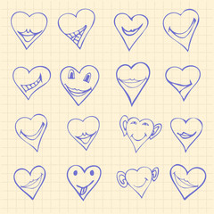 Collection of different heart symbols doodle, Different emotions