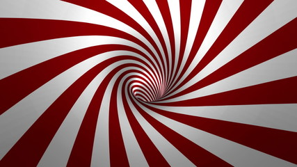 Hypnotic spiral – swirl, red and white background in 3D