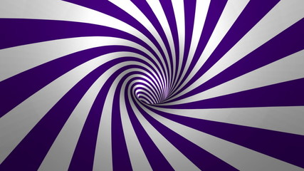 Hypnotic spiral – swirl, purple and white background in 3D