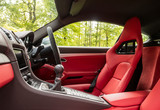 Luxurious leather interior of a sports car in forest